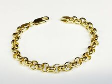 """14kt solid Yellow gold handmade ROLO link chain/bracelet 8"""" 20 grams 7 MM"""