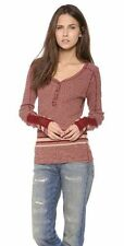 We the Free People Sock Monkey Pullover henley sweater shirt top red striped SML