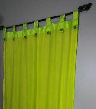 Balinese Natural Muslin Coloured Tab Curtains (Pair) Green Coconut Buttons