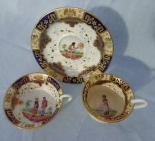 Antique English Porcelain Trio Tea Cups & Saucer Peasants Patt French Style 1820