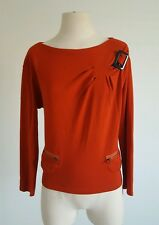 SEE by CHLOE Cotton Ponte Orange Long-sleeve  Boatneck Top Size Medium Fall