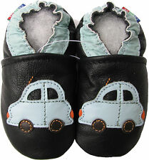 carozoo car black 12-18m soft sole leather baby shoes slippers