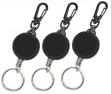 3 x Retractable Key Ring Reel Chain  inc Carabiner Clip & Stainless Steel Cord