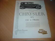 Publicité Chrysler Six de 1926