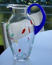 Vintage Skruf Sweden Blown Glass Pitcher Pop Art Modern Handmade Lindelov Signed