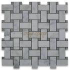 Calacatta Gold Calcutta Marble Basketweave Mosaic Tile Gray Dots 1 x 2 Honed
