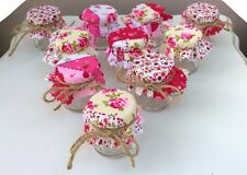 Set di 10 SHABBY CHIC MINI JAM BARATTOLI WEDDING favori Vintage Patchwork Rosa