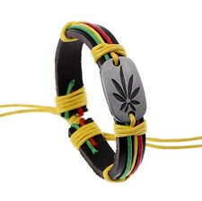 Rasta Man Bracelet Jamaica Flag Colours Faux Leather Reggae UK Seller