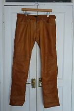 VERY RARE MEN DARK TAN STRAIGHT SLIM FIT REAL LEATHER TROUSERS PANTS SIZE EU33