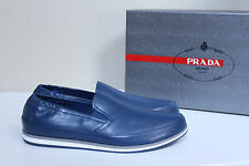 New Prada sz 8 US / 7 UK Blue Leather Slip on Stripe Sole Loafer MEN Dress Shoes