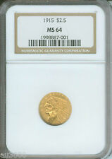1915 $2.5 Indian Ngc Graded Ms64 Nice Ms-64 Better Date