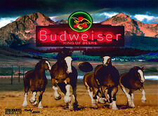Budweiser Beer The Kick Lithocel Cel Ad Art Superbowl Football Clydesdale Bud