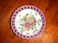 """Vintage Trimont Ware Japan Reticulated/Pierced Work Bowl, Rose Floral w/Gold, 8"""""""