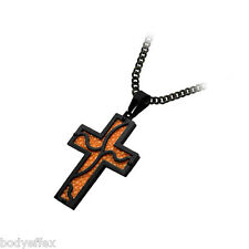 INOX BLACK IP STAINLESS STEEL ART FRAME ORANGE STINGRAY CROSS PENDANT WITH CHAIN