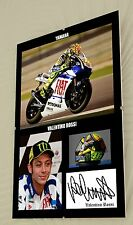"Valentino Rossi Motor Cycle Clip Glass Framed Canvas Print Signed ""Great Gift"""