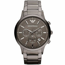 Emporio Armani AR2454 Classic Gunmetal Grey Chrono Steel Mens Watch nuevo