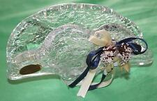 GENUINE MURANO - Clear Crackle Crystal - Napkin Holder w/ Bow - ART GLASS