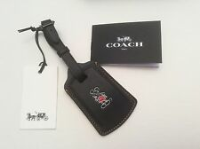 Disney x Coach Mickey Mouse Luggage Tag Leather Black NWT