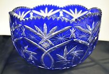 Ajka Xenia/King Louis Large Cobalt Blue Cut To Clear Crystal Water Bowl