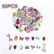 50Pcs Mixed Animal 2 Holes Wooden Buttons Sewing Craft Scrapbooking Amazing F