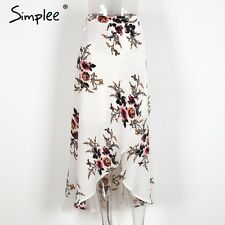 Simplee Floral Print Long Maxi Dress Summer Beach High Waist Asymmetric Skirt