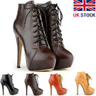 Womens Ankle Boots PU Lace Up Platform Stiletto Winter Strappy Shoes Size UK 2-9