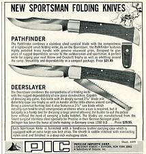 1972 small Print Ad of PIC Precise Imports Corp Pathfinder & Deerslayer Knife