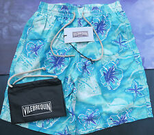 Vilebrequin Mens Swim Shorts Long Okoa Size L UK 28/30 Stingray Pacific Blue