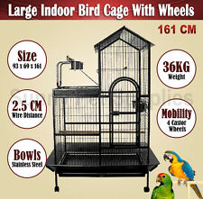 Large 161CM Indoor Bird Cage Budgie Parrot Pet Aviary Perch on Wheels BNE