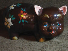 "RARE 1960'S RIES HAND PAINTED CHOCOLATE COLORED PIGGY BANK 9"" X 5"" MADE IN JAPAN"