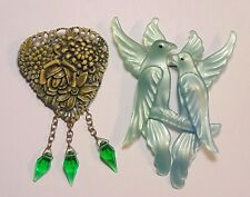 Vintage Art Deco Early Plastic Celluloid Lucite Love Birds Pin Brooch Lot 2 PC