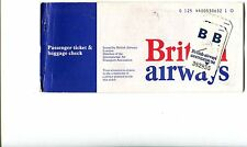 British Airways Airline 1975 Vintage Passenger Ticket - with ID tags attached