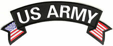 US ARMY Patch BACK Rocker & Flags Embroidered Military VET Biker Patch LRG-0241