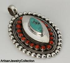 CORAL TURQUOISE & 925 STERLING SILVER GHAU PRAYER BOX PENDANT JEWELRY