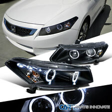 Fit Honda 08-12 Accord 2Dr Coupe LED Halo Projector Headlights Lamp Black