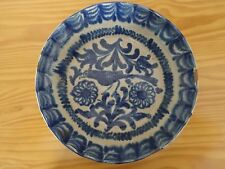 c.18th - Antique Spain Spanish Granada Blue and White Glazed Ceramic Bowl