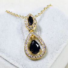 18K Yellow Gold Filled Clear Black CZ Wedding Necklace Pendant Jewelry P3069