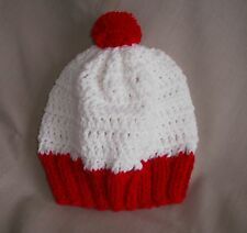 Handmade white & red waldo like knit hat/beanie - child size