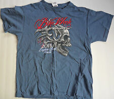 2013 Daytona Beach Bike Week Men's T-Shirt LARGE Blue Motorcycle Skull Florida