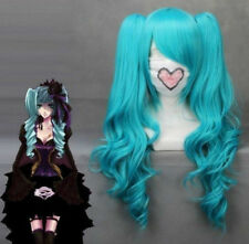 Hot!!!New VOCALOID-Hatsune Miku Blue Anime Cosplay Wavy Wig + 2 Clip On Ponytail