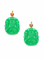 Kenneth Jay Lane Oversized Faux Jade Green Coral Cutout Carved Earrings New