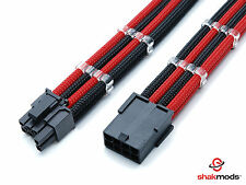 6+2 Pin PCI-E GPU Black Red Sleeved Extension Cable 30cm Shakmods 2 Cable Combs