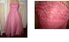 """true vtg 50s 1950s Tulle Strapless Shelf-Bust Ruffled Netting Prom Dress S-M 36"""""""