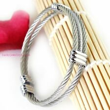 New Arrival 316L Stainless Steel Women Mens Silver Cable Shiny Wrist Bracelet