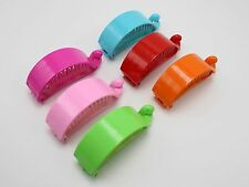 6 Mixed Color Plastic Banana Clips Hair Claw Ponytail Holder 75mm for DIY Craft