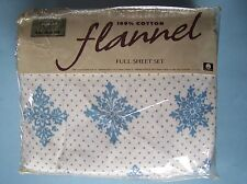 JCP Home Collection SNOWFLAKE FLANNEL FULL SHEET SET Ocean Blue/Cool White NEW