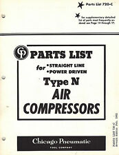 """CHICAGO PNEUMATIC VINTAGE TYPE """"N"""" AIR COMPRESSORS PARTS  MANUAL 1962"""