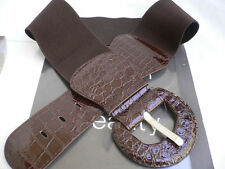 NEW WOMEN HIP ELASTIC WAIST FASHION CASUAL STRETCH DARK BROWN TRENDY BELT XS S M
