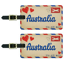 Air Mail Postcard Love for Australia Luggage Suitcase Carry-On ID Tags Set of 2