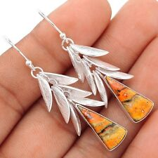 Indonesian Bumble Bee Leaves Overlay Silver Earrings  SE103566